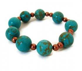 Turquoise stretch bracelet. Fashion style bold jewelry accessories