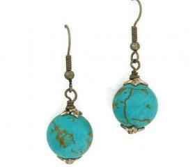 Bold turquoise earrings. Round drop earrings.