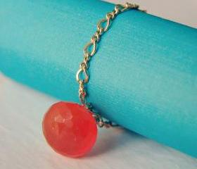 Chain ring with natural gemstone. 14K gold filled thin chain ring. Delicate and feminine jewelry.