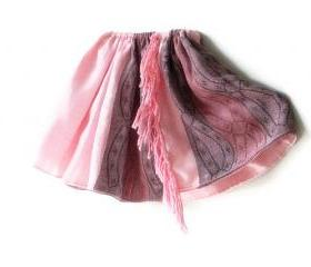 Pink and purple toddler girl skirt. Size 3T - 4T. Fashion style kids clothing. Handmade fluffy double side skirts with fringe.