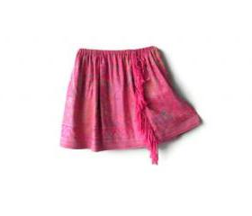 Skirt with fringe. Kids clothes pink floral pattern fluffy skirt. Handmade skirts for toddlers