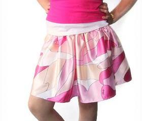 Reversible fuchsia skirt for girls. Kids clothes. Girls summer skirt. . Fashion fabric circle skirts
