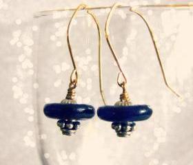 Vintage blue glass space earrings. Handmade jewelry.